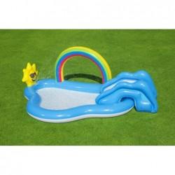 Dmuchany plac zabaw zjeżdżalnia wodna Tęcza i Słoneczko fontanna Bestway 53092 | Basenyweb