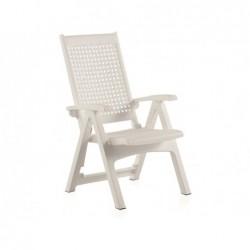 Meble ogrodowe Fotel wielopozycyjny model biały metal SP Berner 55350