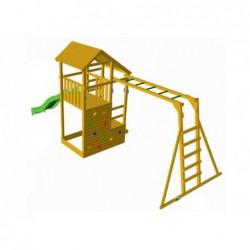 Plac zabaw Teide z drabinką do małp i pojedynczą huśtawką firmy Masgames MA700105