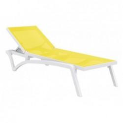 Leżak Costa żółty i biały z 35x193x68 cm.